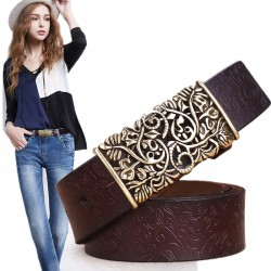 Genuine cow skin leather - belt with carved metal buckle