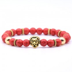 Lion head bracelet with natural stone beads