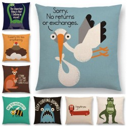 funny cartoon animals sofa pillowcase - dinosaur - kangaroo - bee dachshund - shark - decorative letters cushion cover