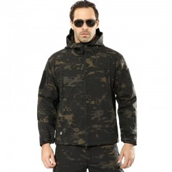 Army - camouflage - waterproof jacket with hood and zippers