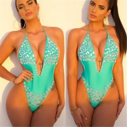 womens padded up one piece - sexy monokini diamond swimwear - crystal beachwear