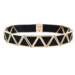 women's belt - cut out gold triangle metal belt - multi elastic hook closure belt for women luxury strap