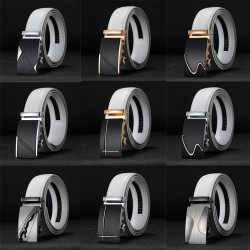 Genuine leather belt with automatic buckle - white