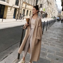 winter elegant winter coats - oversized extra soft high-end cardigan knitting coat for women