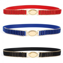 Elegant elastic belt with gold round buckle