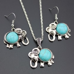 Antique Silver Color Jewelry Set Elephant Pendant Blue Beads Necklaces Drop Earrings Statement Char