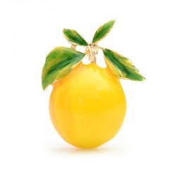Yellow lemon - enamel gold brooch