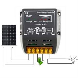 Controlador Carga 20A 12V / 24V para Panel Solar