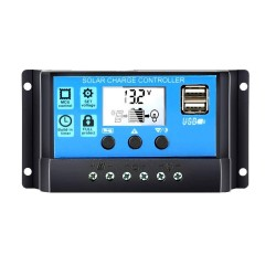 60A50A40A30A20A10A 12V 24V Auto Solar Charge Controller PWM Controllers LCD Dual USB 5V Output