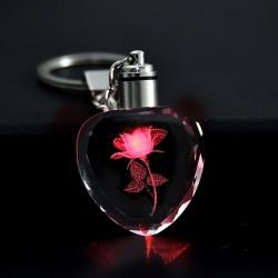 Rose flower in crystal heart - Led - keychain