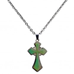 Color changing thermo cross - stainless steel necklace