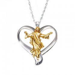 Jesus heart pendant - stainless steel necklace