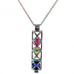 Rectangular tube with pearl beads - stainless steel necklace