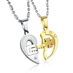 I Love You - four-leaf key & heart - stainless steel necklace 2 pieces