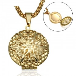hip gold color stainless steel - hollow round necklace - lover gift jewelry