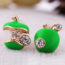 Crystal Apple Earrings - Green/Red