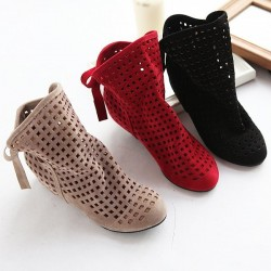 Women's boots - ankle boots - cut outs - red/black/beige