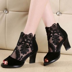 Peep toe sandals - sexy heels - laced