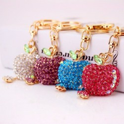 Flat crystal apple key chain
