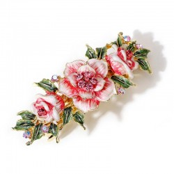 Enamel flowers with crystals - vintage hair clip