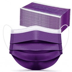 Purple - Disposable - Face Mask - 10pc-100pcs - Non-woven - 3 Ply
