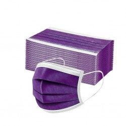Disposable anti-bacterial medical face mask - mouth mask - 3 layer - purple