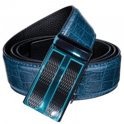 Blue - Buckle - Leather - Belts - Crocodile Belt
