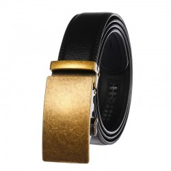 Fashionable leather belt with automatic buckle