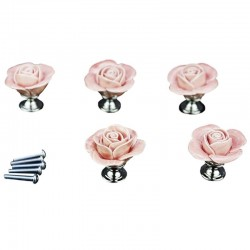 5pcs - Pink - Door Handles - Antique - Button - Rose shaped