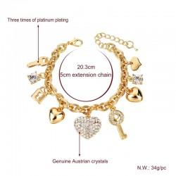 Heart - Charm - Bracelets - Gold - Crystal