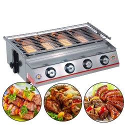 BBQ grill - outdoor oven - stainless steel & glass - LPG 4 burners gas