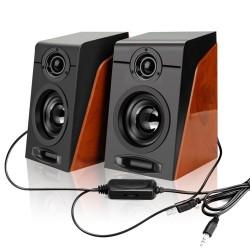 Wood grain speakers - bass stereo - computer speakers