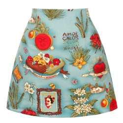 Retro - vintage - cotton skirt - floral print