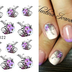 Nail art stickers - water transfer - purple flowers