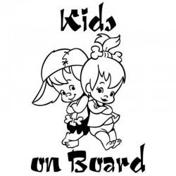 Kids on board - cute - cartoon - car sticker