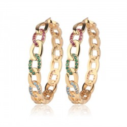 Gold hoop earrings with colourful crystals