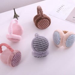 Warm plush / cotton plaid earmuffs - adjustable