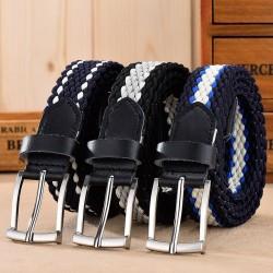 Braided elastic belt - leather - unisex