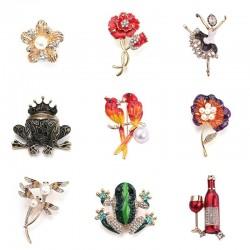 Parrots - dragonfly - frog - flower - ballerina - crystal brooch