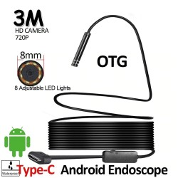 8 LED - 8mm - HD720P - USB-C - Android - endoscope camera - flexible hard cable