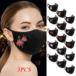 Face / mouth protective mask - reusable - cotton - flower print - 3 pieces