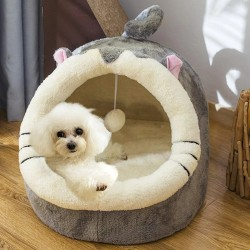 Dog / cat bed - house - plush sleeping mat with hanging toy