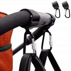 Baby pram stroller hook - aluminum clip with strap