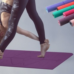 Yoga mat with position lines - gym - pilates - fitness - non-slip sport mat