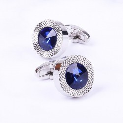 Round blue crystal cufflinks - 2 pieces