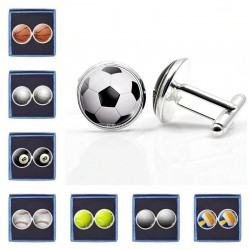 Football / basketball / baseball / volleyball - glass round cufflinks