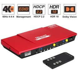 HDMI switch - 4 in 1 out - with S/PDIF & L/R audio output - HDTV 4K 60Hz 4:4:4 - IR remote control