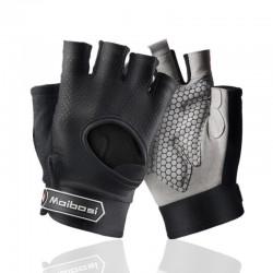 Gym padded gloves - anti-slip silicone grip -with wrist wrap
