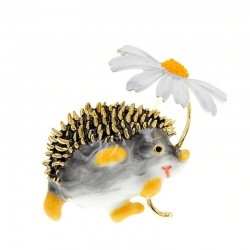 Small hedgehog with a flower - brooch