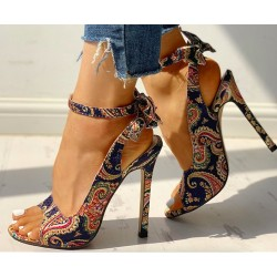 Modern high heel sandals - with an ankle strap - back bow - colorful design
